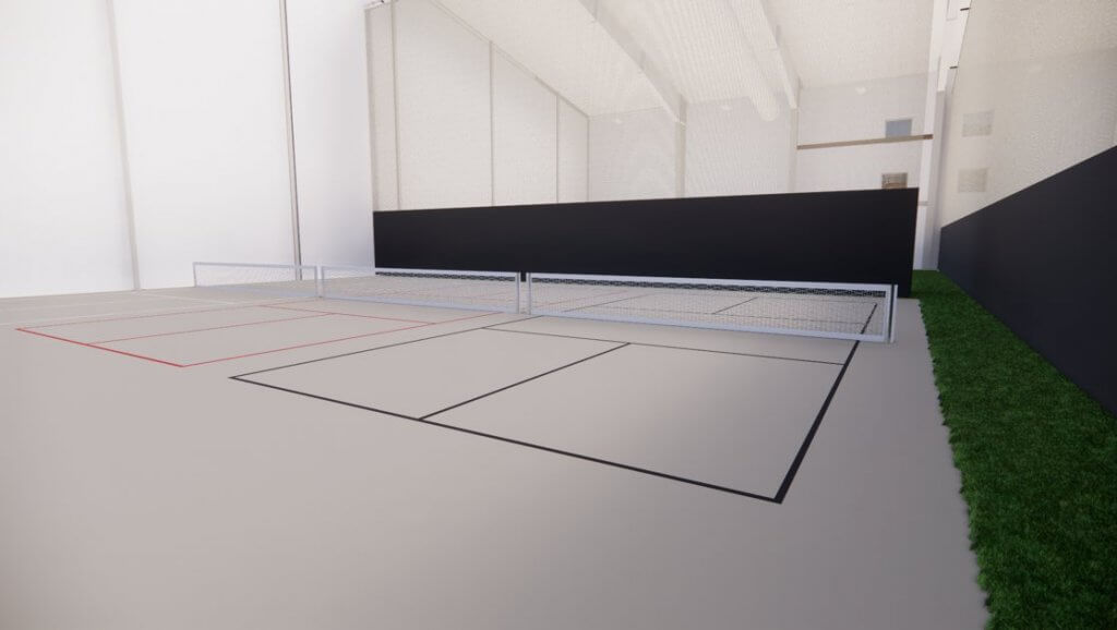 An image rendering of the RecPlex's pickleball courts.